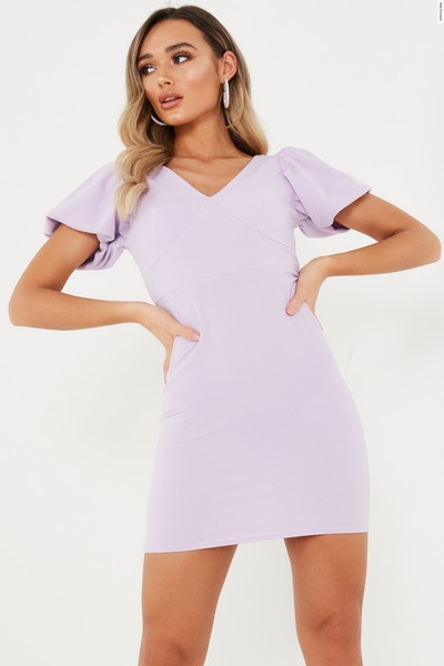 Lilac Puff Sleeve Bodycon Dress